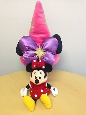 Girls Minnie Mouse Hat Disneyland Paris Wizard/Sorceress Pink Bow With Plush.