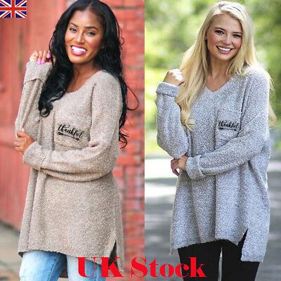 Womens Winter Baggy Knitted Long Sleeve Jumper Sweater Ladies Casual Loose Tops