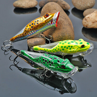 Popper Fishing Lures Bass Saltwater Freshwater 3D Fishing Tackle Crankbaits 3pcs