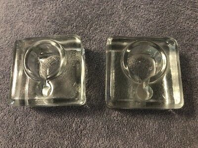 ART DECO HEAVY Ink Well GLASS PAIR OF INKWELLS