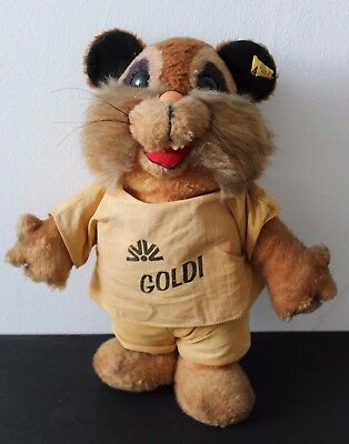 vintage STEIFF Hamster GOLDI Commerzbank 7955/32 Button + Flag PROMOTIONAL ITEM