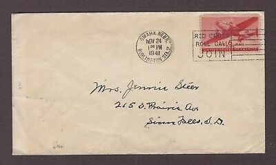 mjstampshobby 1941 US Air Mail Red Cross Vintage Cover Used (Lot4919)