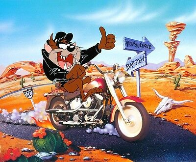 Taz Looney Tunes Harley Davidson Tasmanian Devil Cartoon Sticker or Magnet