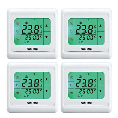 4x 16a digital thermostat touchscreen raumtemperaturregler fu boden bodenheizung eur 52 99. Black Bedroom Furniture Sets. Home Design Ideas