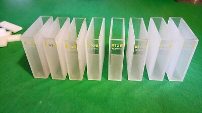 7 x 40mm Optical glass TG Yellow 360nm -2500nm Cuvettes with lids