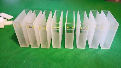 8 x 40mm Optical glass TG Yellow 360nm -2500nm Cuvettes with lids