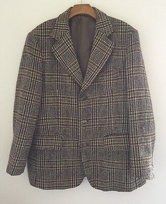 Vintage Dunn & Co Hand Woven Harris Broad Check Tweed Wool Hacking Jacket 40""