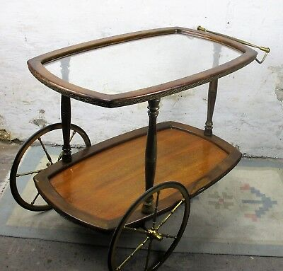 French Vintage Wooden Glass Cocktail Bar Tea Cart Garden Trolley Robust Rustic