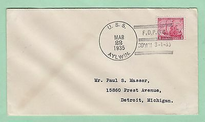 mjstampshobby 1935 US Cover from USS Aylwin Used (Lot2391)