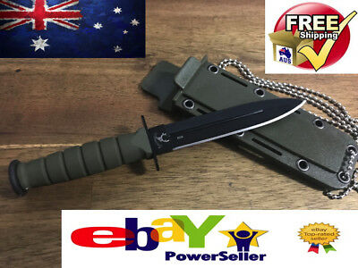 Tactical Double Edged Neck Knife  Survival Hunting Prepper Australia Camping Uss