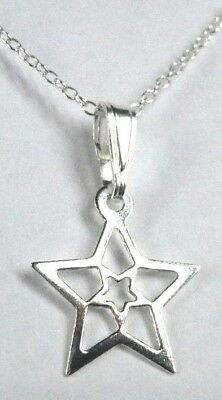 Sterling Silver STAR WITHIN STAR Double Stars Pendant Chain Necklace + Gift Box