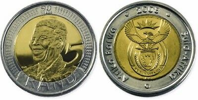 UNC 2008 Nelson Mandela 90th Birthday bi-metallic 5 Rand Coin R5