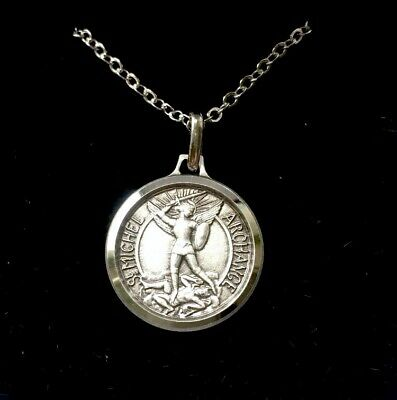 St Saint Michael The Archangel Medal Necklace Pendant - Gift Boxed