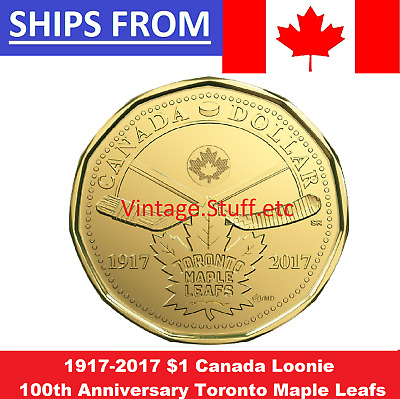 IN HAND 1917 - 2017 $1 Loonie 100th Anniversary Toronto Maple Leafs NHL HOCKEY