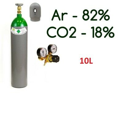 NEW Argon 82% CO2 18% MIX FULL Bottle Cylinder 10 Liter 200 Bar Gas Regulator