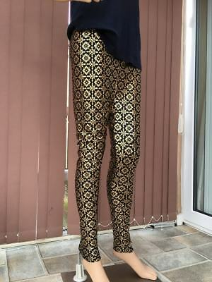 Ladies beautiful Leggings with gold detail work- Black Colour