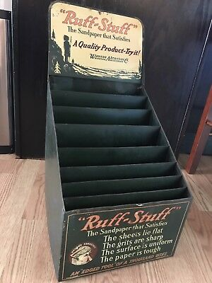 XX RARE ANTIQUE RUFF-STUFF SANDPAPER COUNTER STORE DISPLAY, SIGN red INDIAN