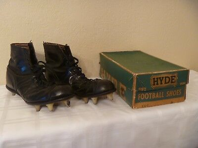 VINTAGE 1950's HYDE HIGH TOP LEATHER ADULT SIZE 10 FOOTBALL SHOES w/ORIGINAL BOX