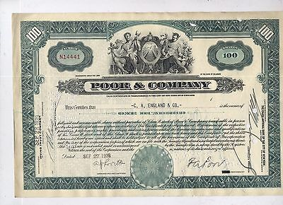 POOR & COMPANY STOCK share Certificate vintage rail joints lot