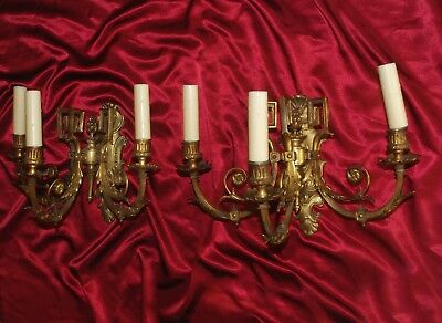 Large Pair Of Gorgeous Vintage French Gilded Bronze/ Brass Wall Sconces