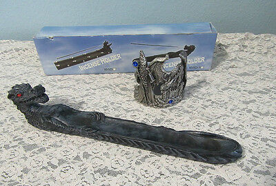 Dragon Incense Holder & Wizard Dragon Candle Holder - Metal With Blue Gems