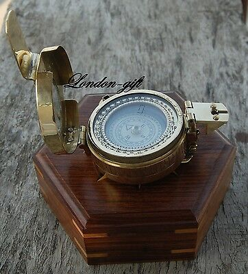 Solid Brass Nautical British Military Ww2 Prismatic Pocket Compass W/wood Case