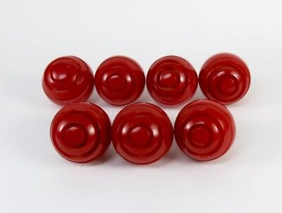 Vintage 7 Red Carved Bakelite Ball Shape Buttons 14Mm