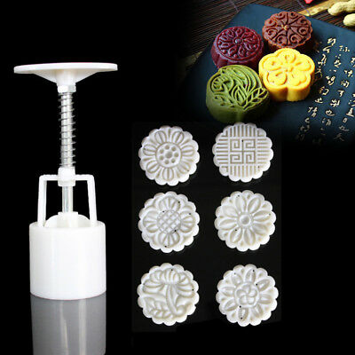 White Moon Cake Mold Hand Pressure Flower Decor Motif Pastry 50g Round+6 Stamps