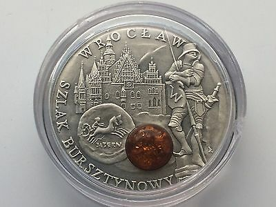 2009 Niue Island Amber Route Wroclaw Uncirculated  Silver Encapsulated Round