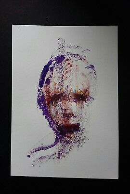 Original A4 portrait painting in acrylic paint. Contemporary outsider art
