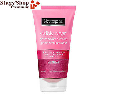 Neutrogena Vclear Gel Nettoyant Exfoliant Pamplemousse Rose Tube 150 ml