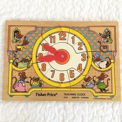 VINTAGE FISHER PRICE Teaching Time Clock Wooden Puzzle #2710 1984 EUC USA 12 pc