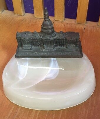 Vtg Slag Glass Ashtray Pen Holder Souvenir The Capital Washington