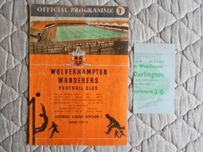 Wolves V Darlington Fa Cup 5Th Round Match Programme & Ticket 1958