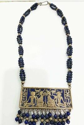Rare Ancient Egyptian Stamped Sterling Silver,Natural Lapis Lazuli Heavy Choker