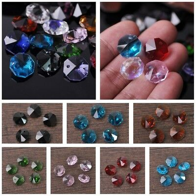 50pcs 14mm Octagon Faceted Crystal Glass Prism Decoration Beads Chandelier Parts