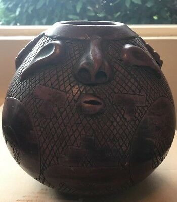 Native Amazonian Rare Art Pottery Red Clay Bowl Hand Made Rainforests of Brazil