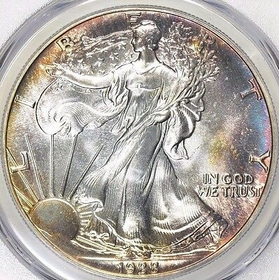 1988 $1 Silver Eagle PCGS MS-68 Made in the USA Eagle Label True Monster Toned