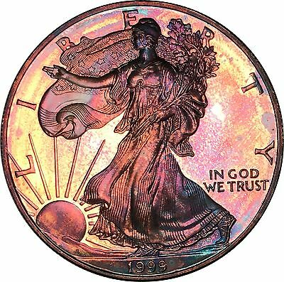 1999-P American Silver Eagle ASE $1 BU Proof Stunning Rainbow Color Toned Gem