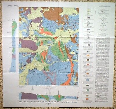 USGS NEDERLAND QUAD, COLORADO, GEOLOGIC MAP, Full Color Map & Sleeve 1969 NICE!!
