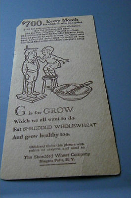 Shredded Wheat G Is For Grow Child's Contest Card