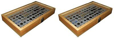 2 Natural Wood Glass Top Lid Grey Cufflinks Jewelry Display Storage Box Cases