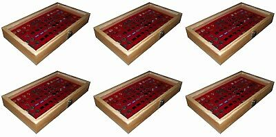 6 Natural Wood Glass Top Lid Red Cufflinks Jewelry Display Storage Box Cases
