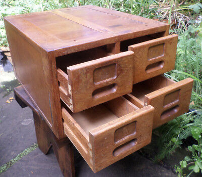 Antique Oak Filing Cabinet With 4 Drawers