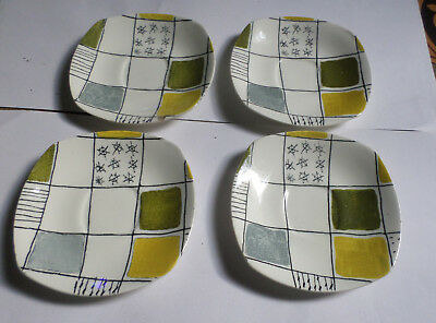 4 Saucers Midwinter Chequers by Terrance Conran