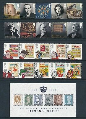 Great Britain 6 diff 2010-2 commem sets VF NH face value 56 1st =£36.40 =US$48