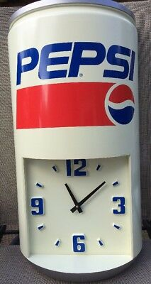 """Vint. pepsi can wall clock-Battery Operated-Working Condition 24""""x 12 1/2"""" x 6"""""""