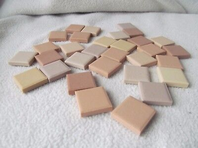 "Fifty Vintage Tiles / 1""x1"" / Mixed Shades peach and cream / great for mosaics!"