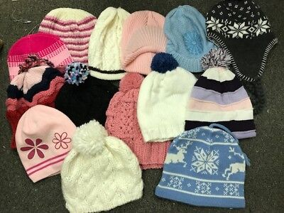 Girls Knit Caps Assorted Lot Of 30 Pieces