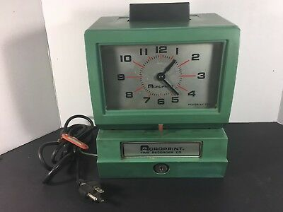 USED Acroprint 125QR4 Time Clock Punch With Key WORKING GREAT